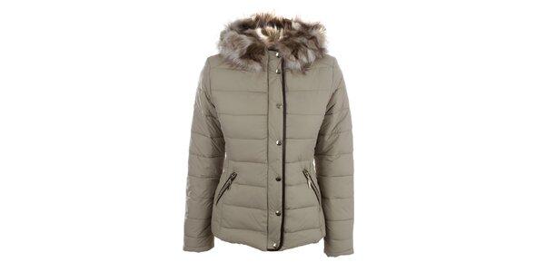 Dámská hnědobéžová zimní bunda s kapucí Bilin
