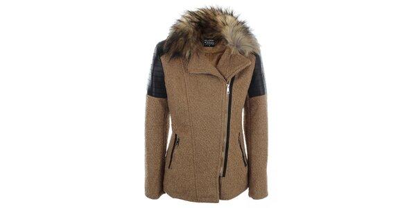 Dámský světle hnědý krátký kabátek s kožíškovým límcem Mila Store