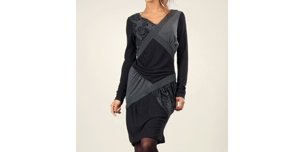 Dámské šedo-černé šaty s dlouhým rukávem Angels Never Die