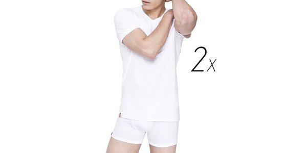Set dvou bílých pánských triček z bavlny Levi's