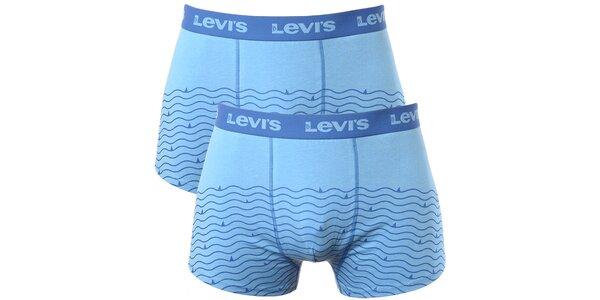 Set 2 pánských modrých boxerek s vlnitými pruhy Levi's