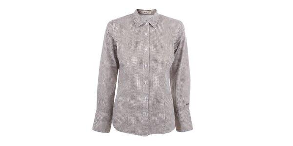 Dámská hnědo-bíle vzorovaná košile s dlouhým rukávem Big Star