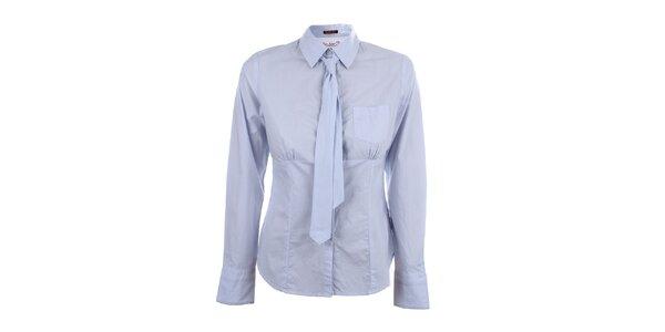 Dámská světle modrá pruhovaná košile s kravatou Big Star