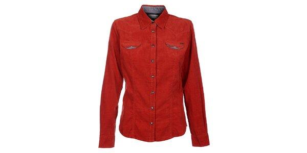 e0e43fd8508 Dámská červená manšestrová košile Timeout