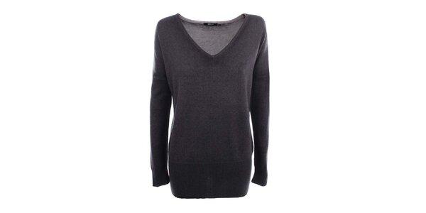 Dámský šedý svetr s véčkovým výstřihem Gas