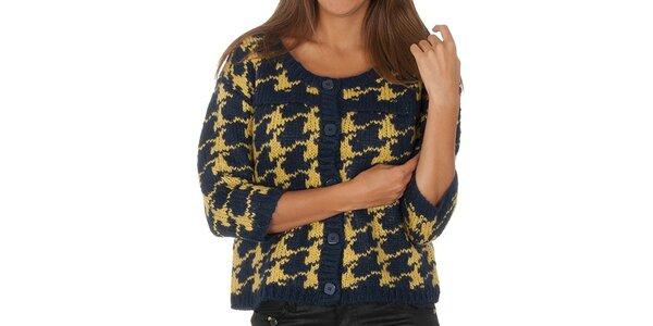 Dámský modro-žlutý vzorovaný svetr s knoflíky Vero Moda