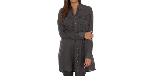 Dámská šedá dlouhá košile Vero Moda
