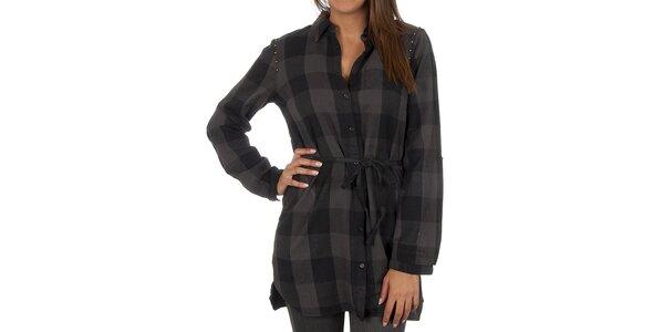 Dámská černo-šedě kostkovaná košile Vero Moda