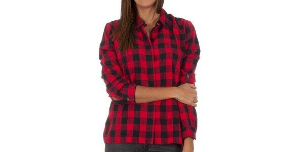 Dámská červeno-černě kostkovaná košile Vero Moda