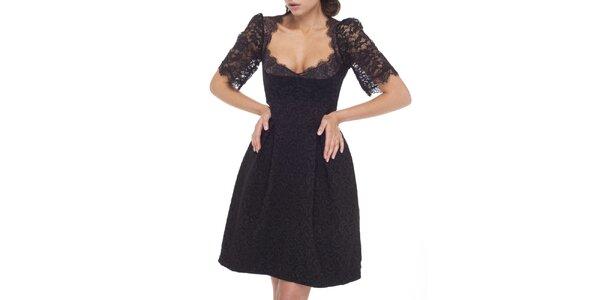 Dámské černé šaty s krajkovými rukávy Arefeva