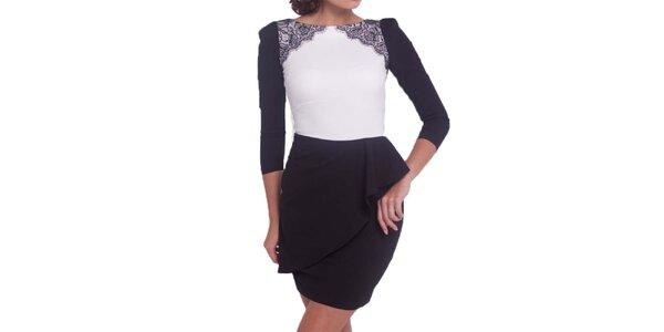 Dámské bílo černé šaty s krajkou a volánem Arefeva