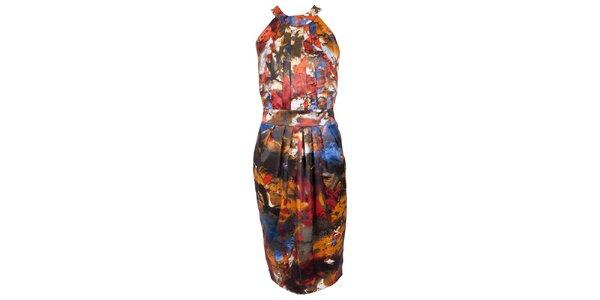 Dámské oranžovo-červené saténové šaty CeMe London