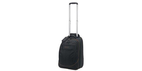 Černý/khaki batoh na kolečkách ESPRIT