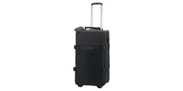 Černá/fialová cestovní taška na kolečkách ESPRIT