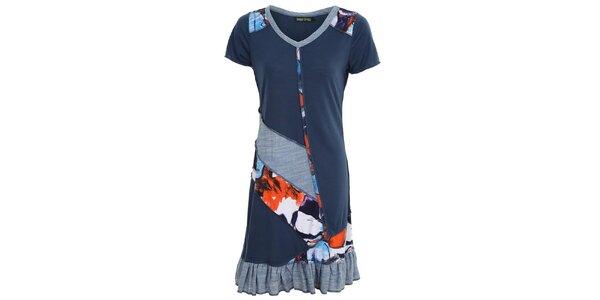 Dámské modré šaty s kanýrkem Sugar Crisp
