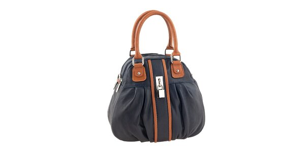 Dámská modrá kabelka s hnědými prvky Valentina Italy