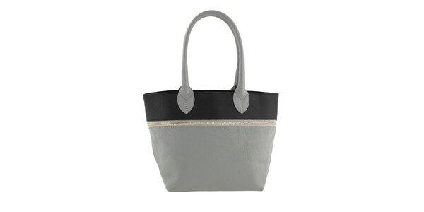 Dámská šedo-černá kožená kabelka Valentina Italy
