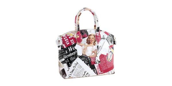 Dámská bílá kabelka s barevným potiskem Marilyn Valentina Italy