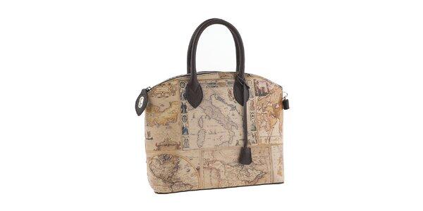Dámská hnědá kabelka s potiskem mapy Valentina Italy