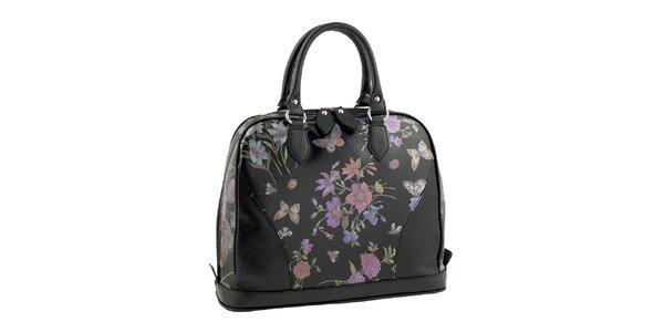 Dámská černá kabelka s květinovým potiskem Valentina Italy