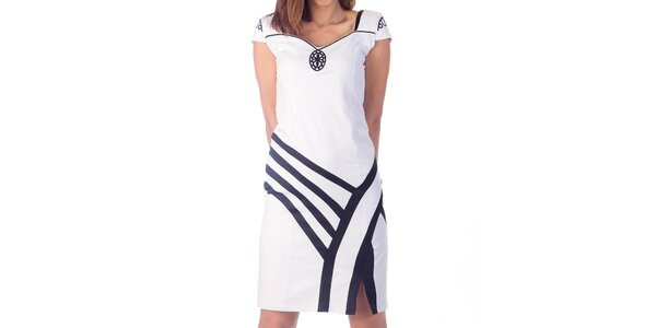 Dámské bílé šaty s černými detaily Nelita