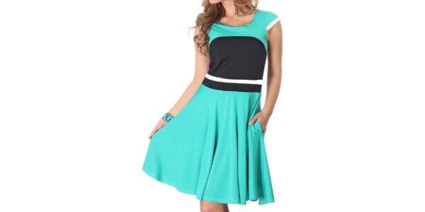 7caccf9c40d Dámské mátově zelené šaty s černým živůtkem Nelita