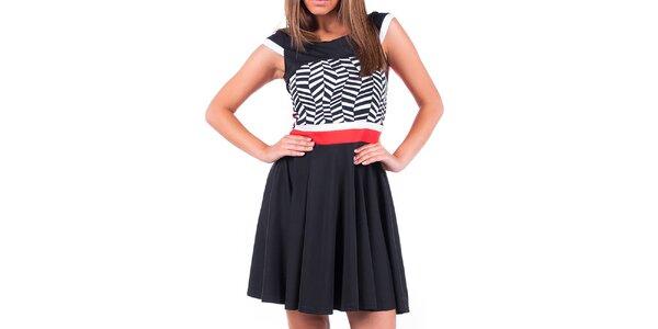 Dámské šaty s černo-bílým vzorem a červenými prvky Nelita