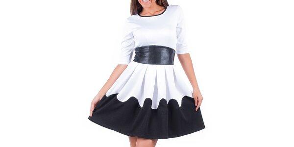 Dámské černo-bílé šaty se zavazováním v pase Nelita