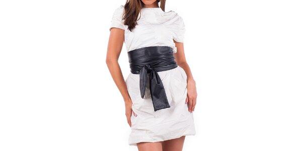 Dámské krémové šaty s černým páskem Nelita