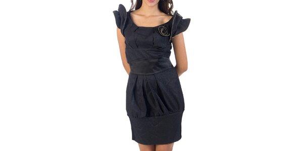 Dámské černé třpytivé šaty s růžičkou Nelita