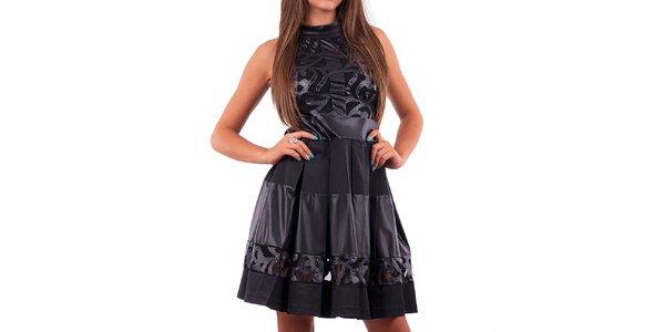 Dámské černé šaty se skládanou sukní Nelita