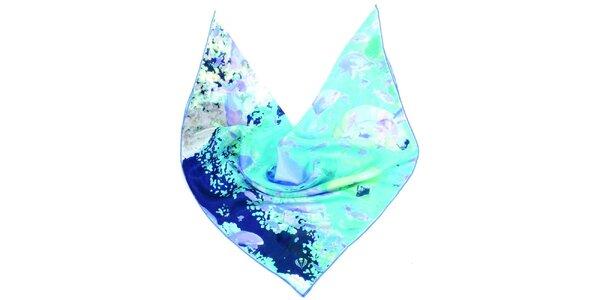 Dámský modro-zelený hedvábný šátek Fraas