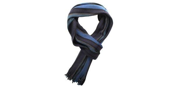 Dámská modrá pruhovaná šála Fraas
