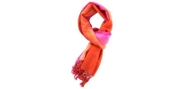 Dámská vlněná růžovo-oranžová šála Fraas