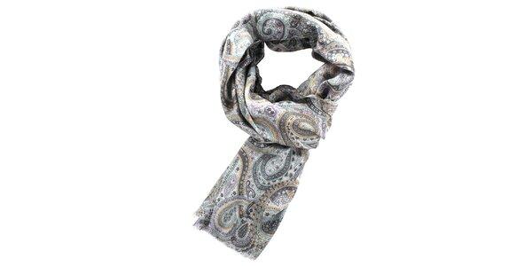 Dámský šedý šátek s květinovým potiskem Fraas