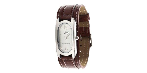 Dámské hodinky s tmavě hnědým páskem Elite