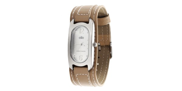 Dámské hodinky se světle hnědým páskem Elite