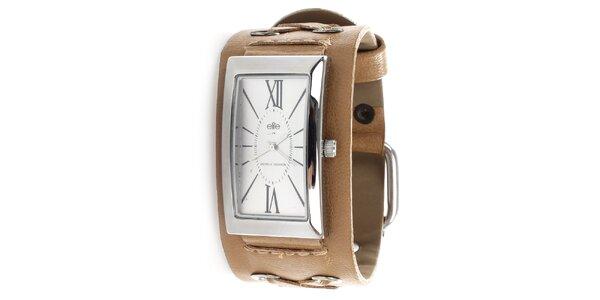 Dámské hodinky s hnědým řemínkem Elite