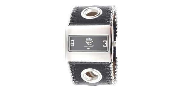 Dámské hodinky s obdélníkovým ciferníkem a černým páskem Elite dd540b866d
