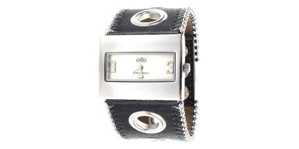 Dámské hodinky s obdélníkovým ciferníkem a dekorativním páskem Elite