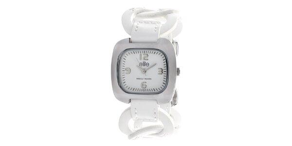 Dámské hodinky s bílým kroužkovým řemínkem Elite