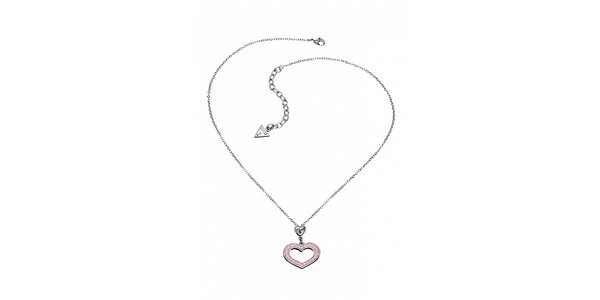Dámský ocelový náhrdelník Guess se srdíčkem a růžovými kamínky