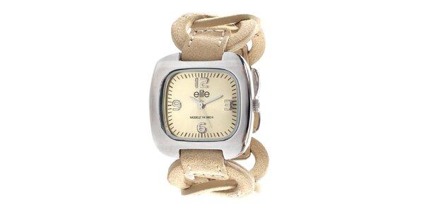 Dámské hodinky s béžovým kroužkovým řemínkem Elite 819cbece7c