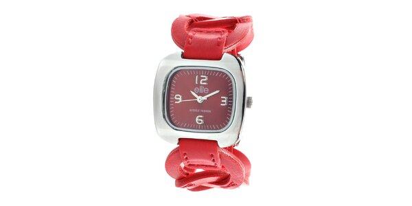 Dámské hodinky s červeným kroužkovým řemínkem Elite