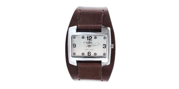 Dámské hodinky z nerezové oceli s tmavě hnědým řemínkem Elite