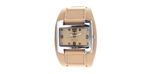 Dámské hodinky z nerezové oceli s béžovým řemínkem Elite