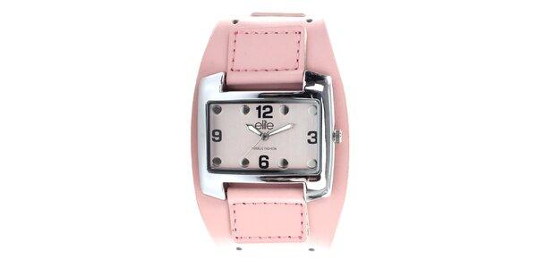 Dámské hodinky z nerezové oceli s růžovým řemínkem Elite