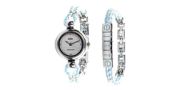 Dámské minimalistické hodinky a tyrkysovo-bílý náramek Elite