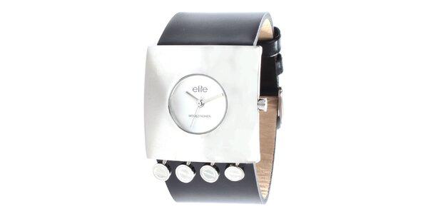 Dámské hodinky s hranatým pouzdrem a černým řemínkem Elite