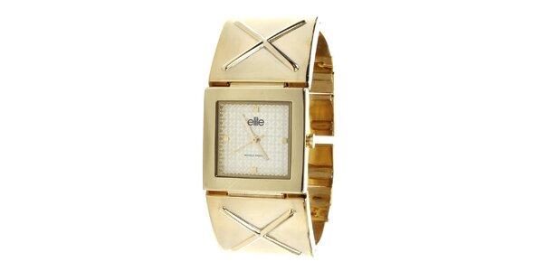 Dámské hodinky se čtvercovým ciferníkem ve zlatém tónu Elite